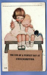 OLD POSTCARD SIGNED MABEL LUCIE ATTWELL NOVELTY CHICHESTER GIRLS BLACK TEDDY