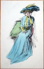 1910 Glamour Postcard: Beautiful Woman in Large Hat, Seated