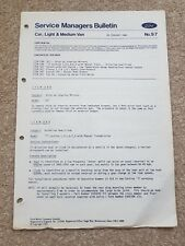 Genuine Ford Cortina ,Escort, Fiesta- 2 Page Service Managers Bulletin x 1-1982