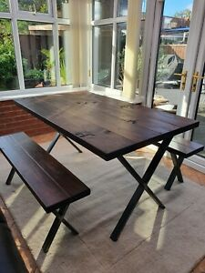 Industrial X frame dining table and bench set- solid wood-Rustic- vintage-steel