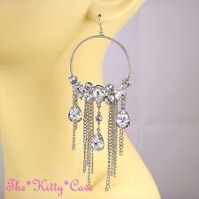 Big Silver Rhodium Crystal Hoop Bling Drop Tassels Statement Chandelier Earrings