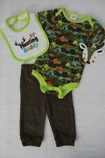 NEW Baby Boys 3 piece Outfit 3 - 6 Mos Bodysuit Pants Bib Set Camouflage Hunting