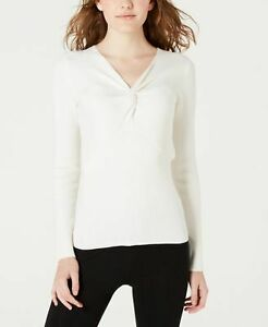 Hippie Rose NWT XL Cashmere Cloud White Rib Twist Front Sweater Shirt $39 P061
