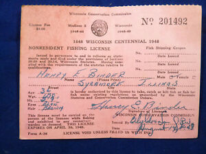 Wisconsin Fishing License 1948 Nonresident Sycamore Illinois