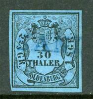 Germany 1854 Oldenburg 1/30 Thaler Blue Ty A SG #2 VFU G221 ⭐⭐⭐⭐⭐