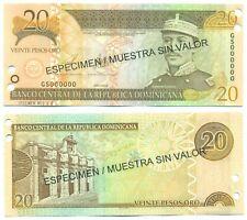 DOMINICAN REPUBLIC NOTE 20 PESOS ORO 2003 SPECIMEN P 169s UNC