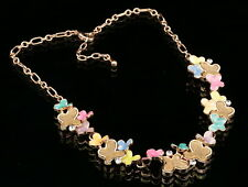 Lady women jewelry colors butterfly brown stones choker gold plate necklace N94