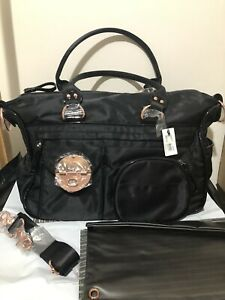 Genuine MIMCO Lucid Baby Bag New With Tag Nappy Pouch W Mat Black Rose Gold