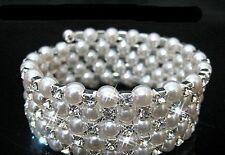 5 RIGA Braccialetto Diamante Nuziali Matrimonio bianco finta Perla Bling Cristallo Braccialetti UK