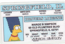 Marge Simpson of The Simpsons novelty plastic collectors card Drivers License
