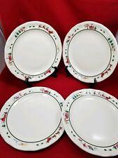 "Set Of 4 Pfaltzgraff Snow Village Snowman 11"" Dinner Plates Christmas Holiday"