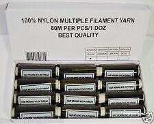 80m BLACK NYLON HAIR EXTENSIONS WEAVING WEFT THREAD 12PCS