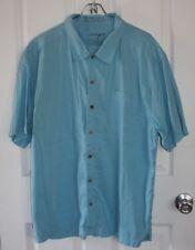 Life Is Good Button Up Shirt Mens Medium Blue Short Sleeve Linen Cotton Blend
