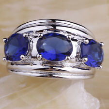 Wedding Band Oval Cut Sapphire Gemstone Silver Ring Size 10 For Women Party