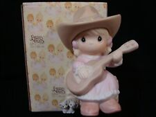 Precious Moments-Yeehah-Cowgirl Playing Guitar-Rare Le '96-Hallelujah Hoedown