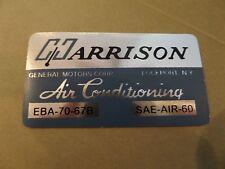 1967 67 impala corvette 427 396 nova AC Evaporator Box Decal Harrison EBA-70-66B