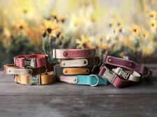 Engraved leather dog collar, Personalized dog collar, dog collar