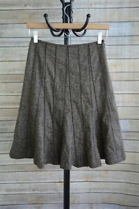 Ann Taylor - BROWN beige TWEED A-line flare WOOL blend skirt LINED, size 0P