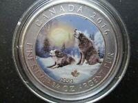 2016 Canada COLORED Grey Wolf Howling 2 Dollars 3/4 Oz .9999 Silver
