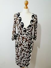 Diane Von Furstenberg Wrap Dress Briwn Cream Black Size 10 100% silk luxurious