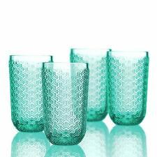 Elle Decor 229806-4HBGR Bistro Key Highball Green Glass Set 4 Pack Barware 14 oz