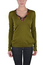 Just Cavalli Women's Olive Green 100% Wool V-Neck Sweater US S IT 40