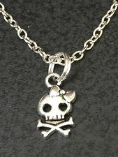 "Day of the Dead Sugar Skull Mini Charm Tibetan Silver 18"" Necklace"