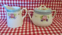 Nippon Creamer Sugar Lid Pink Roses Pale Blue Top White Hand Painted Antique