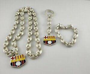Barcelona Sporting Club BSC Bracelet Necklace & Keychain Set HEAVY 2.2 LBS