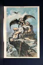 Modern Prometheus 1882 UNCLE SAM as HERCULES CHAINED to ROCK VULTURES SNAKE Puck