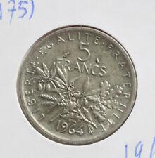 "Frankreich: 5 Francs 1964 Silver, KM# 926, SS-VF, #F 2406, ""Semeuse"""