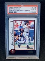 1998 Bowman Barry Bonds Autograph PSA 9 Mint