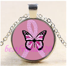 Breast Cancer Awareness Butterfly Glass Tibet Silver Pendant Necklace#CEB