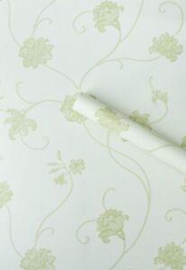 10m MINT GREEN FLORAL STICKY BACK VINYL FILM PVC WALLPAPER PLASTIC SHABBY SWIRL