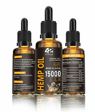 Hemp Oil for Dogs Cats Organic 15000 MG Beef Flavor- Value Size Bottle - 60ML