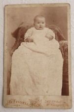 Antique Sepia Photo Baby Portrait Cabinet Card, J.W. Finnell, McKeesport, PA