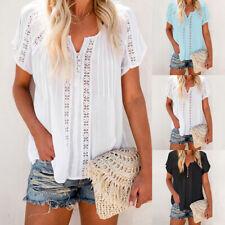 Plus Size Summer Women Short Sleeve T Shirt Ladies Blouse Lace Flower Tops Basic