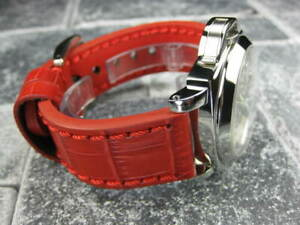 22mm BIG CROCO Leather Strap Red Thick Watch Band Belt Red Stitch fits PANERAI