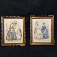Antique Pair Framed Lithograph Print Godey's Americanized Paris Fashion 1855