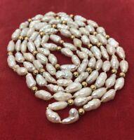 "14k Gold Estate Vintage Necklace Freshwater Rice Pearls Strand 32"" 151"