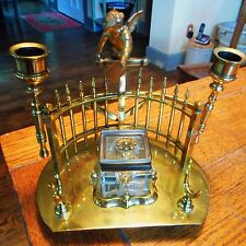 Vintage Art Deco Nouveau Brass Cherub Candle Inkwell-Fold Out Candle Holders