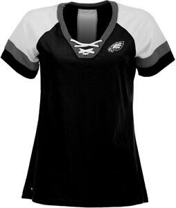 Philadelphia Eagles Women's Black Supersonic Lace-Up Jersey T-Shirt (S)