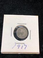 1917 Canada 5c Five Cents Silver Coin Half Dime KM# 22