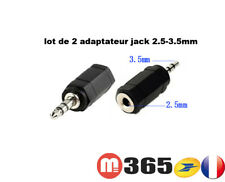LOT 2 ADAPTATEUR REDUCTEUR JACK 3.5MM STEREO MALE JACK 2.5 MM STEREO FEMELLE