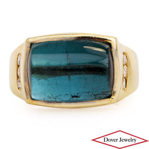 Estate Diamond London Blue Topaz 14K Gold Ring 7.8 Grams NR