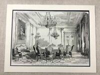 1855 Vienna Austria Interior Design Original Antique Print The Foreign Office