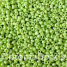50g glass seed beads - Lime Green Opaque Lustered - approx 2mm (size 11/0) craft