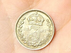 1887 British Victoria Maundy  3d Three Pence Silver Coin Jubilee Head  #R76