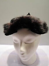 Nos 1950s Vintage Black Velvet Furry Hairpiece HeadBand Hat Cap Pinup Rockabilly