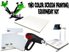Silk Screen Printing Press 2 color/1station, heat gun, exposure unit equipment